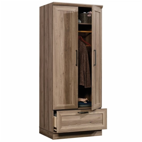 Pemberly Row Wardrobe Armoire with 1-Drawer in Salt Oak Perspective: top