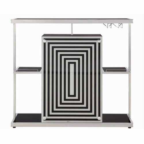 Stonecroft Fulton Contemporary Bar Unit in Glossy Black Perspective: top