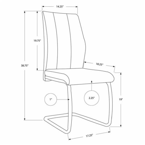 Monarch Faux Leather Dining Side Chair in Gray (Set of 2) Perspective: top