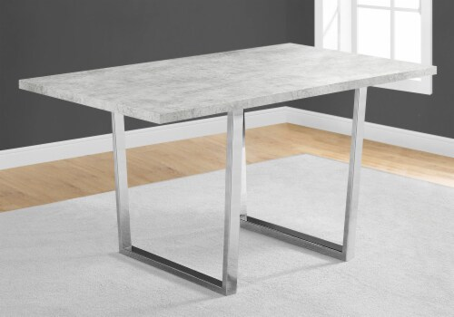 Dining Table - 36 X 60  / Grey Cement / Chrome Metal Perspective: top