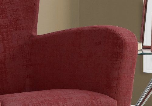 Accent Chair - Red Brushed Velvet Fabric Perspective: top
