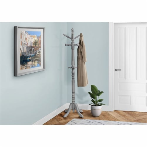 Coat Rack - 73 H / Grey Wood Traditional Style Perspective: top