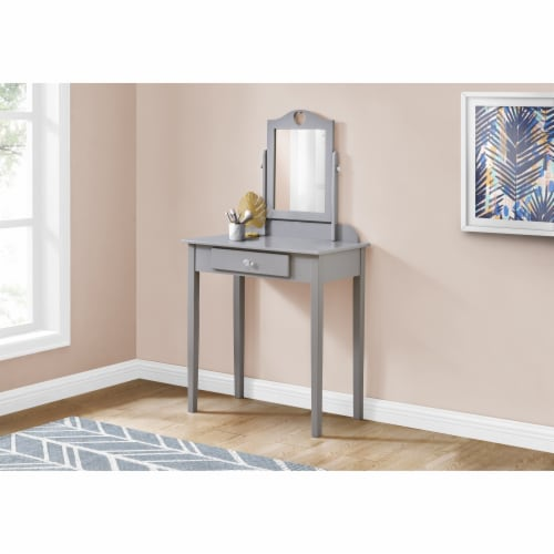 Monarch Contemporary Wooden Bedroom Vanity With Mirror in Gray Perspective: top