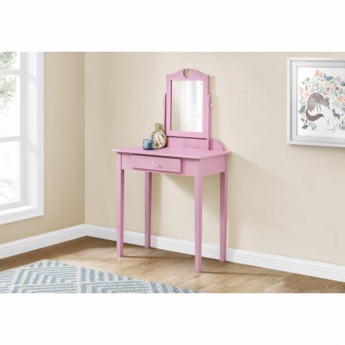 Monarch Contemporary Wooden Bedroom Vanity With Mirror in Pink Perspective: top