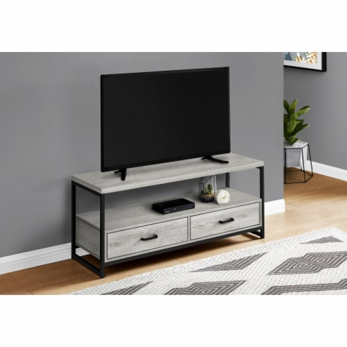 Monarch Specialties 2 Tiers and 2-Drawer Modern Metal TV Stand in Gray Perspective: top