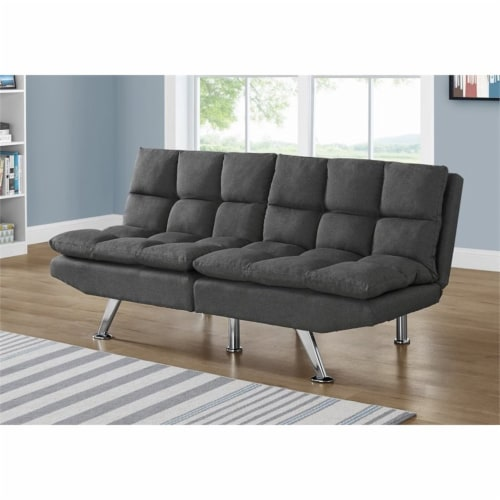 Monarch 70  Biscuit Fabric Tufted Pillow Top Split Back Futon in Dark Gray Perspective: top