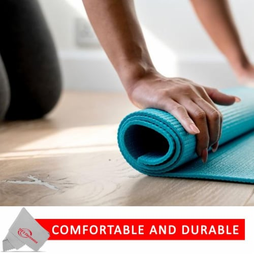 Vivitar Pfv8277 5mm High Density Foam Exercise Roll Up Teal Mat For Yoga Perspective: top