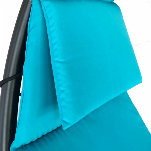 Backyard Expressions Steel Hanging Lounger Chair - Blue Perspective: top