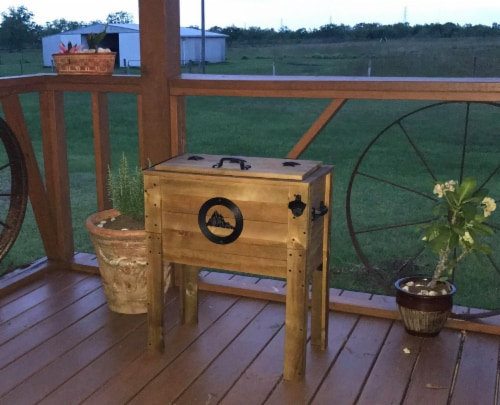 Backyard Expressions 45 Qt. Decorative Outdoor Rustic Mountain Cooler Perspective: top
