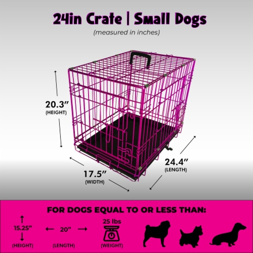Backyard Expressions Pink 24 Inch Foldable Double Door Metal Pet Crate Perspective: top
