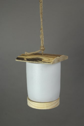 Ceramic & Wood Hanging Birdhouse Decorative Bird Home Nesting House Cylinder - Cylinder Perspective: top