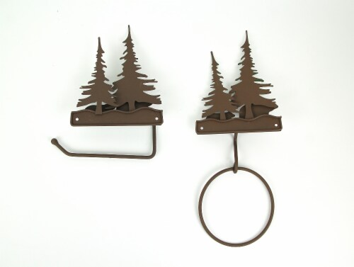Metal Bear Forest Toilet Paper And Towel Holder Set Bathroom Wall Mounted Decor Perspective: top