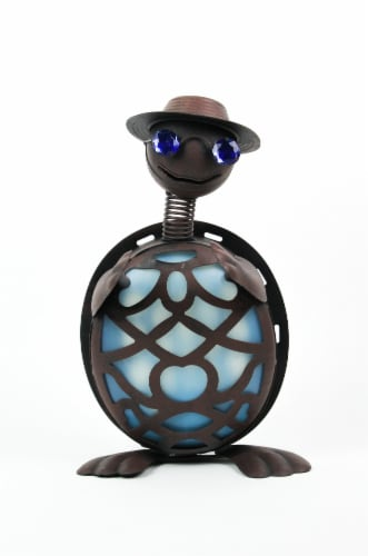Rustic Metal Turtle in Hat and Sunglasses Solar Powered LED Light Garden Statue - Blue Perspective: top