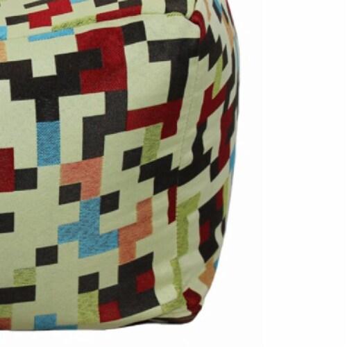 Saltoro Sherpi Fabric Pouf Ottoman,Multicolored Perspective: top