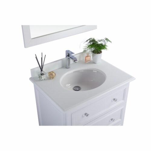 Luna - 30 - White Cabinet + Pure White Phoenix Stone Countertop Perspective: top