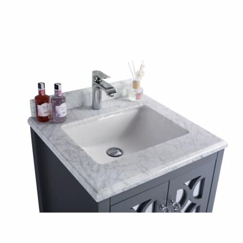 Mediterraneo - 24 - Grey Cabinet + White Carrara Marble Countertop Perspective: top
