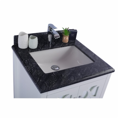 Mediterraneo - 24 - White Cabinet + Black Wood Marble Countertop Perspective: top