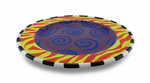 Set of 4 Whimsical Colorful Ceramic Salad / Dessert Plates 9 in. Perspective: top