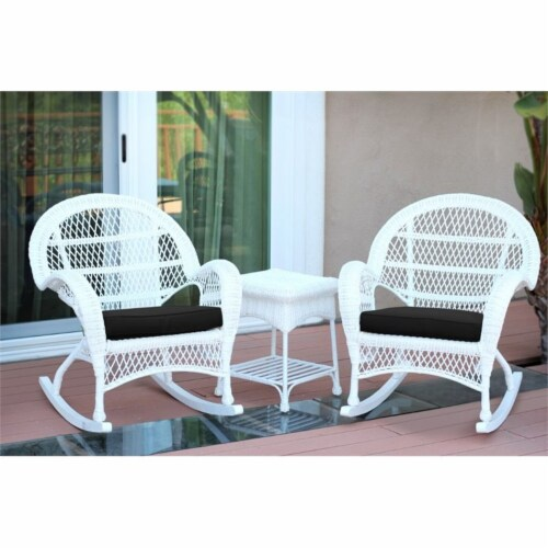 Jeco 3 Piece Wicker Conversation Set in White with Black Cushions Perspective: top