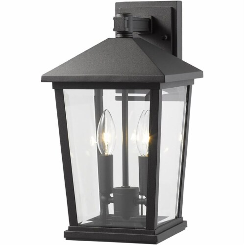Z-Lite Beacon 2 Light 15  Clear Glass Aluminum Outdoor Wall Sconce in Black Perspective: top