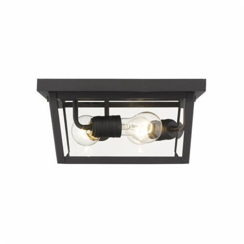 Z-Lite 568F-BK Beacon 6-Inch 3 Light 40W Dimmable Mount Ceiling Light, Black Perspective: top