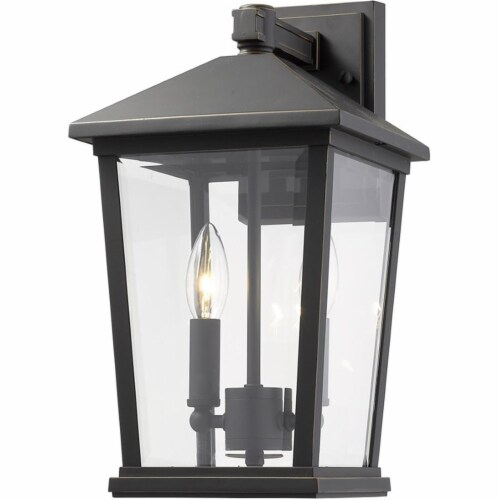 Z-Lite Beacon 2 Light 15  Clear Glass Aluminum Outdoor Wall Sconce in Bronze Perspective: top