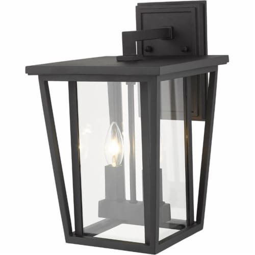 Z-Lite Seoul 2 Light 15  Clear Glass Aluminum Outdoor Wall Sconce in Black Perspective: top