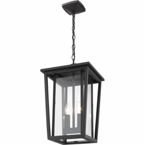 Z-Lite Seoul 2 Light Clear Glass Aluminum Outdoor Chain Mounted Pendant in Black Perspective: top