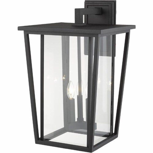Z-Lite Seoul 3 Light 23  Clear Glass Aluminum Outdoor Wall Sconce in Black Perspective: top