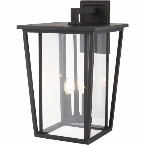 Z-Lite Seoul 3 Light 23  Clear Glass Aluminum Outdoor Wall Sconce in Bronze Perspective: top
