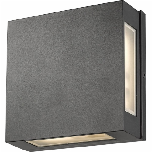 Z-Lite Quadrate 2 Light 9  Glass Aluminum Outdoor LED Wall Sconce in Black Perspective: top