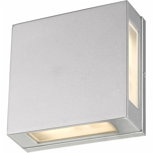 Z-Lite Quadrate 2 Light 9  Glass Aluminum Outdoor LED Wall Sconce in Silver Perspective: top