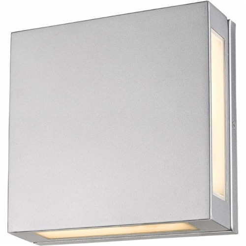 Z-Lite Quadrate 2 Light 11  Glass Aluminum Outdoor LED Wall Sconce in Silver Perspective: top