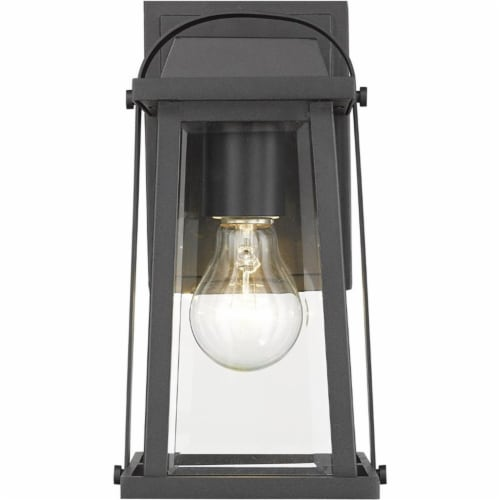 Z-Lite Millworks Clear Glass Aluminum Outdoor Wall Sconce in Black Perspective: top