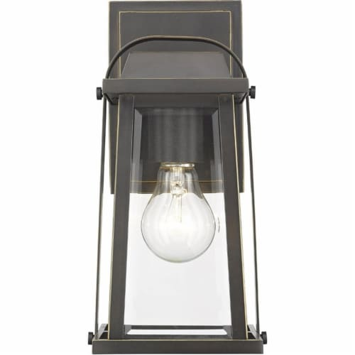 Z-Lite Millworks Clear Glass Aluminum Outdoor Wall Sconce in Bronze Perspective: top