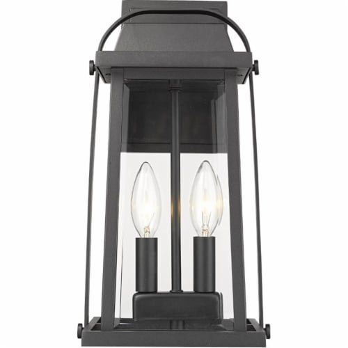 Z-Lite Millworks 2 Light Clear Glass Aluminum Outdoor Wall Sconce in Black Perspective: top