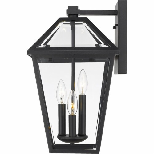 Z-Lite Talbot 3 Light 21  Clear Glass Steel Outdoor Wall Sconce in Black Perspective: top