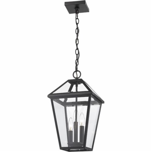 Z-Lite Talbot 3 Light 18  Clear Glass Stainless Steel Outdoor Pendant in Black Perspective: top