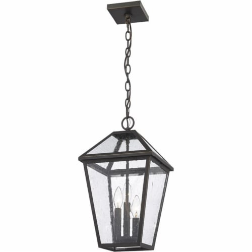 Z-Lite Talbot 3 Light 18  Seedy Glass Stainless Steel Outdoor Pendant in Bronze Perspective: top