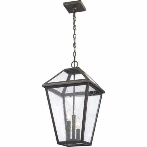 Z-Lite Talbot 3 Light 22  Seedy Glass Stainless Steel Outdoor Pendant in Bronze Perspective: top