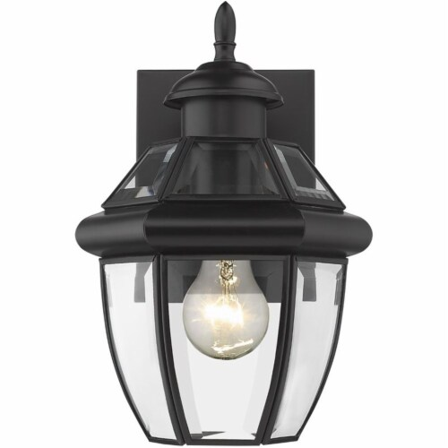 Z-Lite Westover 11  Clear Glass Brass Outdoor Wall Sconce in Black Perspective: top
