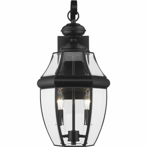 """Z-Lite Westover 2 Light 20"""""""" Clear Glass Brass Outdoor Wall Sconce in Black Perspective: top"""
