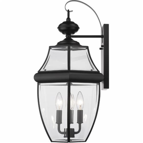 Z-Lite Westover 3 Light 22  Clear Glass Brass Outdoor Wall Sconce in Black Perspective: top