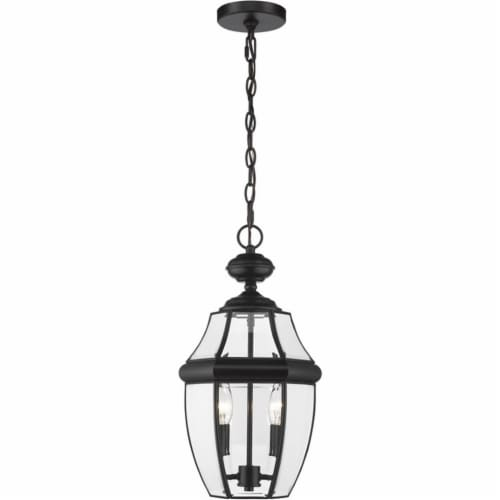 Z-Lite Westover 2 Light Clear Glass Brass Outdoor Chain Mounted Pendant in Black Perspective: top