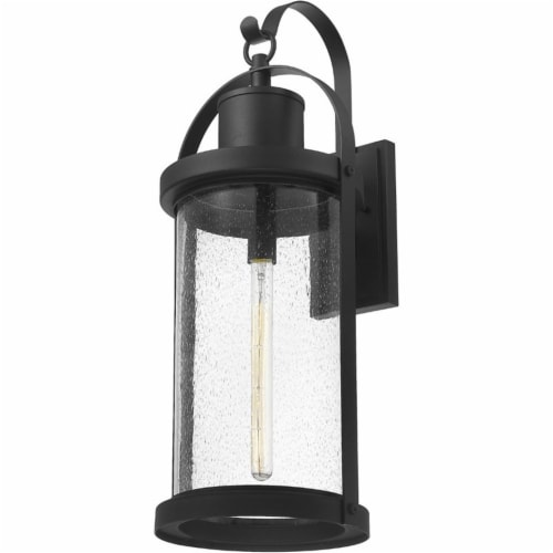 Z-Lite Roundhouse 32  Seedy Glass Aluminum Outdoor Wall Sconce in Black Perspective: top