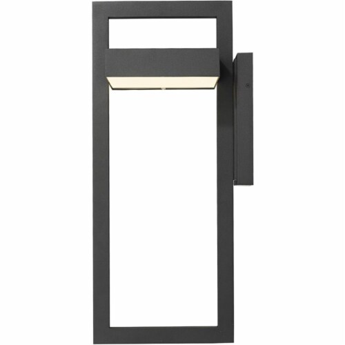 Z-Lite Luttrel 25  Sand Blasted Glass Aluminum Outdoor LED Wall Sconce in Black Perspective: top