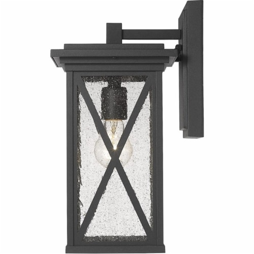 Z-Lite Brookside 15  Seedy Glass Aluminum Outdoor Wall Sconce in Black Perspective: top