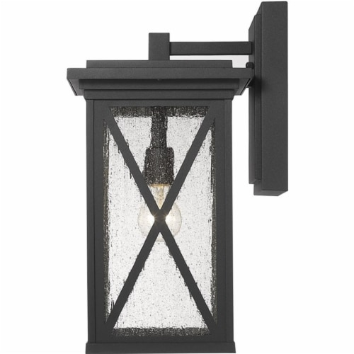 Z-Lite Brookside 18  Seedy Glass Aluminum Outdoor Wall Sconce in Black Perspective: top
