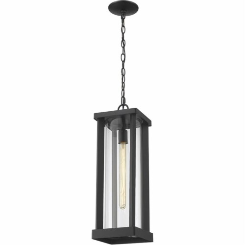 Z-Lite Glenwood 22  Clear Aluminum Glass Outdoor Chain Mounted Pendant in Black Perspective: top