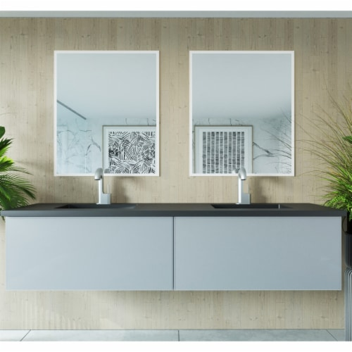 Vitri 72 - Fossil Grey Double Sink Cabinet Perspective: top